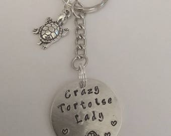 Crazy tortoise lady key ring, handstamped to order
