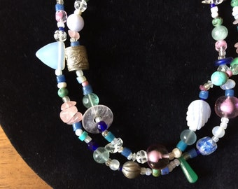 Unique Handmade Boho Statement Urban Gypsy Beaded Necklace Tribal Exotic Pastel