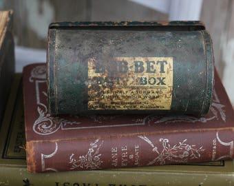 Rusty Vintage Green Metal Bait Box