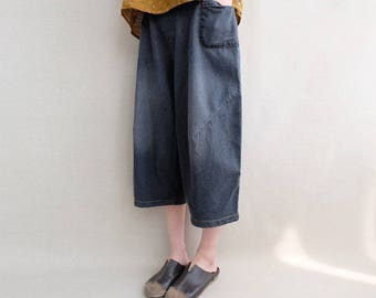 Women Denim Pants Elastic Waist Jeans Casual Pants Harem Pants Calf Length Pants