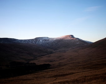 Pen Y Fan and Corn Du at Sunset in Winter. Fine Art Photography Brecon Beacons.