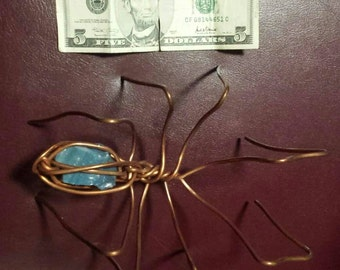 Copper Spider/Leland blue stone/hand twisted