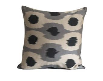 Grey Dots Ikat Cushion Cover, 45 x 45 cm, Decorative Pillows