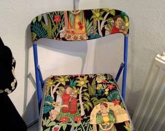 Frida Kahlo blue folding chair - kitchen - dining - living room extra seating statement piece