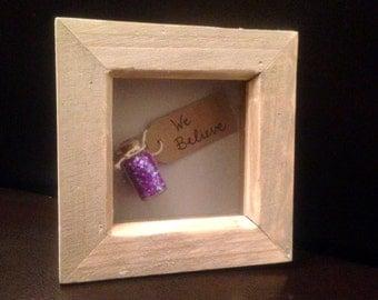 We believe frame, small Christmas frame, glitter frame,