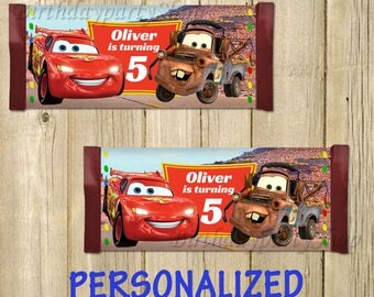 Disney Cars Candy Wrappers, Disney Cars Chocolate Wrappers, PERSONALIZED, Digital File