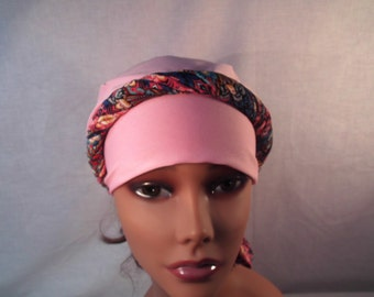 Pink cap and scarf wear with out the scarf or dress up with scarf around the rim or neck.