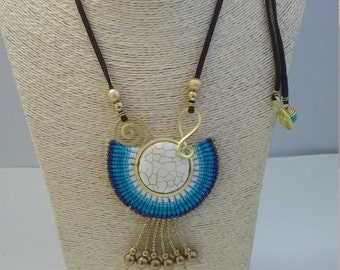 Thai Macrame Necklace, Cotton Waxed, Brass, Lucky Stone and Chamoise Leather