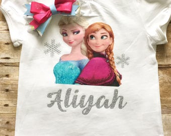 Frozen birthday shirt and matching BOW.