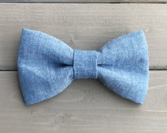 The Chambray Dog or Cat Bow Tie