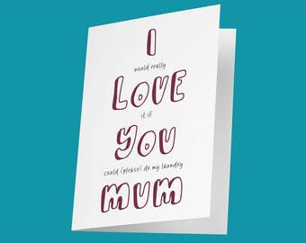 Funny Mother's Day Card / Funny Mother's Day Ideas / Cheeky Mother's Day Card / Please Do My Laundry? / Funny Card for Mum /Mother's Day