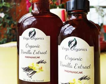 Pure Organic Vanilla Extract / Madagascar / Bourbon Vanilla Beans
