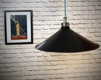 Hand made industrial 500mm black pendant light