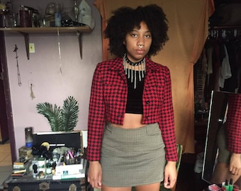 Vintage Red & Black Checkered Cropped Jacket/ Wool