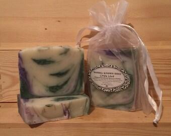 FREE SHIPPING USA - Linda Love Handmade Soap - Cold Process Soap - Lavender Soap - Lime Soap