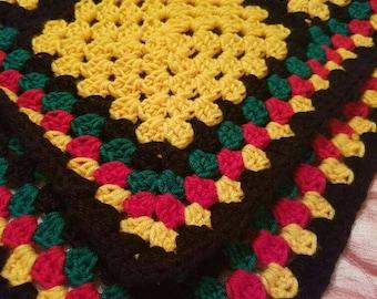 70's Granny Blanket Crochet Rainbow  Blanket  Double Bedspread  Sofa Throw bedding Present Wheelchair Blanket Elderly Lap Blanket Rasta