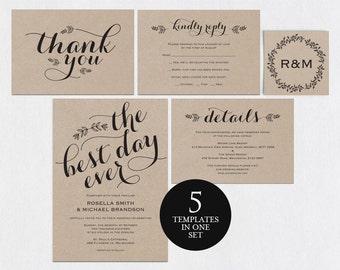 Rustic Wedding Invitation Template, Wedding Invitation Template, The Best  Day Ever, Kraft Wedding