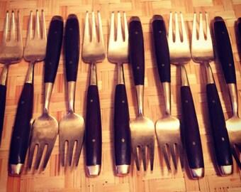 Rosewood Pastry Forks; Rosewood Appetizer Forks; Rosewood Flatware; Brass Flatware