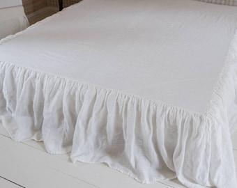 Linen Bedding Linen Bedskirt Queen Bedskirt Twin Bedskirt Romantic Bedding Shabby Chic Bedding Ruffled Bedskirt Custome Bedskirt Linen