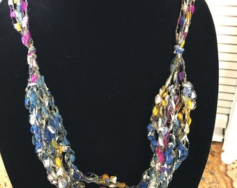Ladder necklace/scarf. Multi pastel