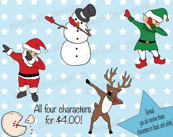 Holidays/Dabbin' through the snow/SVG/Christmas/clipart/hand drawn/digital image/personal/commercial