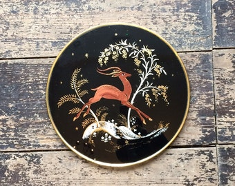Mid Century Convex Painted Glass Circular Wall Plaque - leaping deer in forest