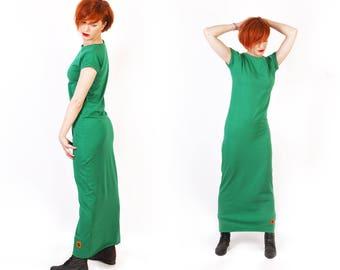 Casual Dress // Maxi Dress // Summer Dress // minimalistic // green long dress // cotton //spring clouth