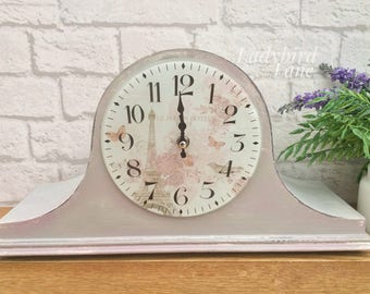 Paris Mantle Clock, French Style Clock, Grey and Pink Clock, Paris Decor, French Style, Mantle Clock, Vintage Clock, Paris Grey,