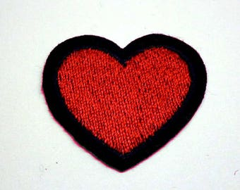 Red Heart with Black Border Iron on Patch - H370