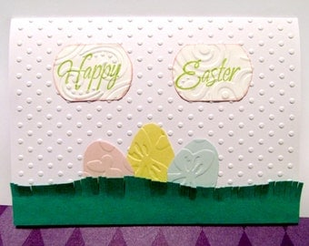 """Eggs in Grass on Polka-Dots EASTER Greeting Card with White Envelope (Blank Inside) - 5.5"""" x 4.25"""""""