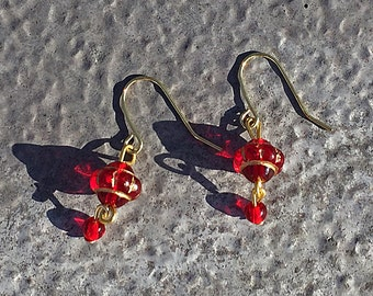 """Red  and """"gold"""" double dangles"""
