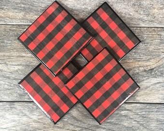 Red and Black Buffalo Plaid Ceramic Coasters with Black Trim