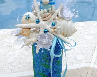 Seashell Decorative Wine Bottle-Aqua Blue Glitter Altered Wine Bottle-Starfish Seashells-Table Decor-by Floramiagarden