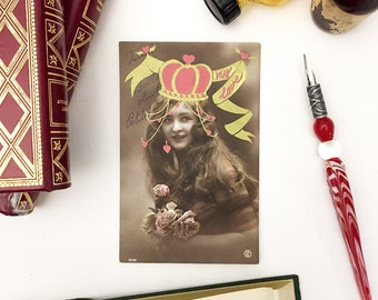 Card mailing old, love, illustration, vintage, gold and pink, Princess heart