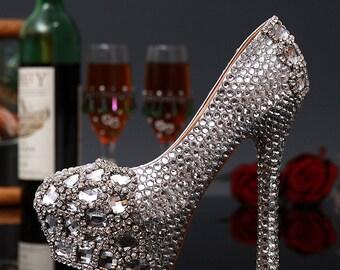 Custom Womens Wedding Shoes, Formal Clear Swarovski Crystal Rhinestone High Heel Bling Shoes, Platform, Bridal Bling Shoes