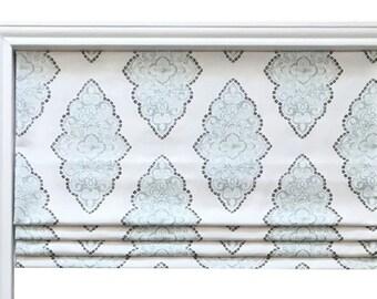 Faux(Fake) Flat Roman Shade Valence/Blue Premier Prints Monroe Snowy/ Custom Sizing/Kitchen Bedroom Bathroom Valence