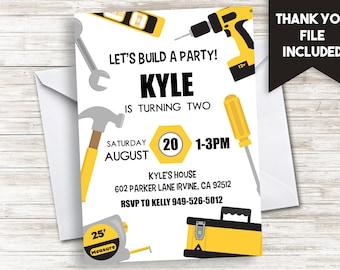 Tools Invitation Invite Builder Fix-It Construction Birthday Digital 5x7 Boys ANY AGE Yellow Black White