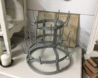Ancient mini bottle dryer, France, shabby