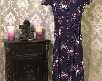 90's Vintage Dress By Bentley-Size 10-Blue Vintage Dress-Vintage Womens Dress-Womens Vintage Dress-Vintage Floral Dress