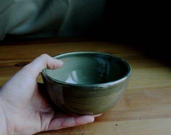 Rustic Green Ceramic Ice Cream Bowl