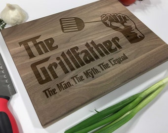 The Grill Father - Funny Cutting Board - Engraved Cutting Board, Custom Cutting Board, Wedding Gift, Housewarming Gift, Anniversary Gift
