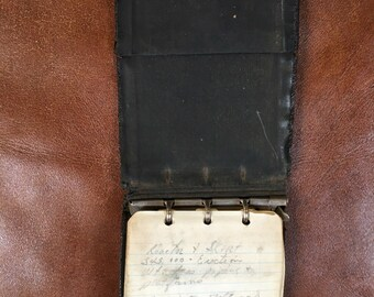 Vintage 1959 Leather pocket notepad with paper