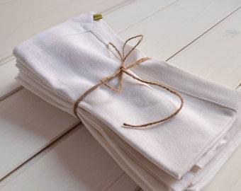 White linen napkins set 4, linen, napkin, Washcloths, napkins