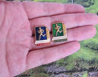 Sport badges sports pins collectibles souvenirs vintage bagdes memorabilia pins junior athletic qualification pins soviet junior sport USSR