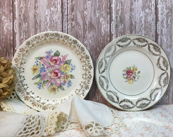 Set of Two Mismatched Wall Plates/Dessert Plates/Porcelain/Flowers/Gold Trim/Shabby Chic