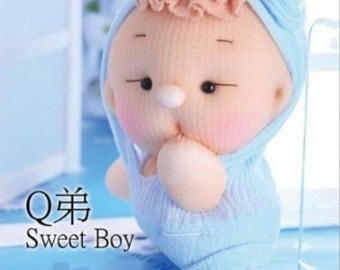 sock doll kit, DIY sock doll, soft doll sculpturing, soft doll making, baby shower gift, home decor--- Sweet Boy
