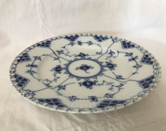 Vintage Lunch plate Royal Copenhagen Blue fluted Full lace First quality Number 1 1086. Like new. Diameter 9,2 inches. Hand painted