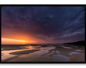 Sunset at La Palue, art print 60 x 90 cm mounted and laminated on Alu-Dibond cash American