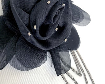 Mesh Floral Beaded Appliqué With Dangling Chains