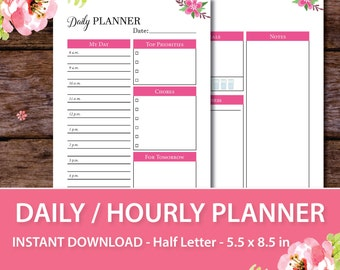 Daily Agenda 2017, Daily Schedule, Half Letter Size, Undated Planner, Daily Planner Organizer, Daily Planner Template, 5.5 x 8.5 in